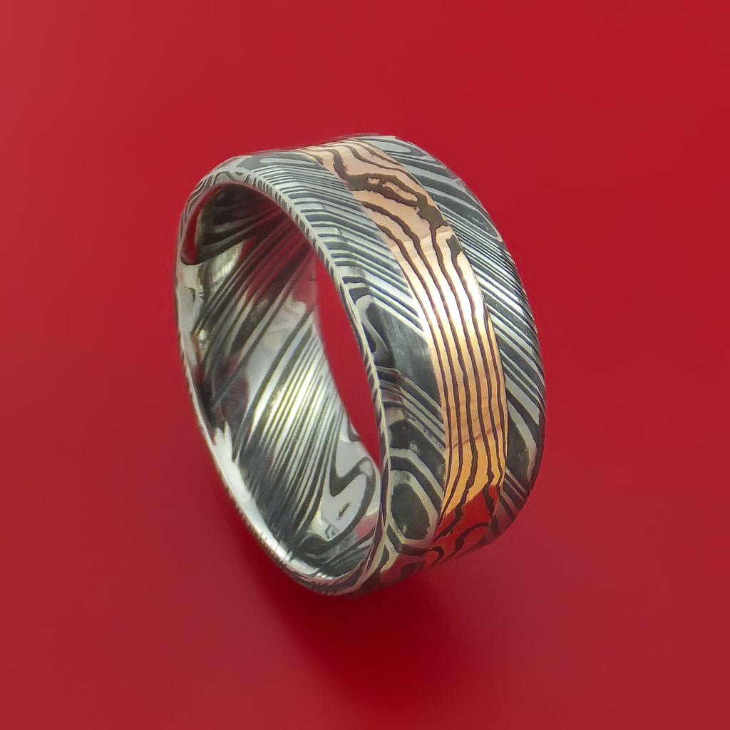 Wide Kuro Damascus Steel Ring with 14k Rose Gold Mokume Shakudo Inlay Custom Made Band
