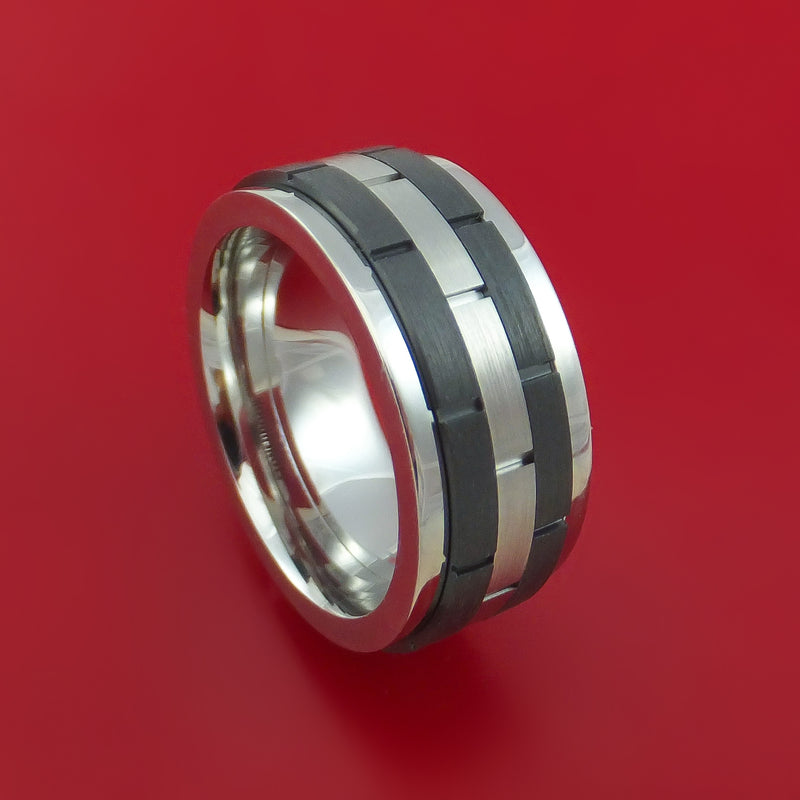 Cobalt Chrome and Black Zirconium Spinner Ring with Brick Pattern Custom Made Band