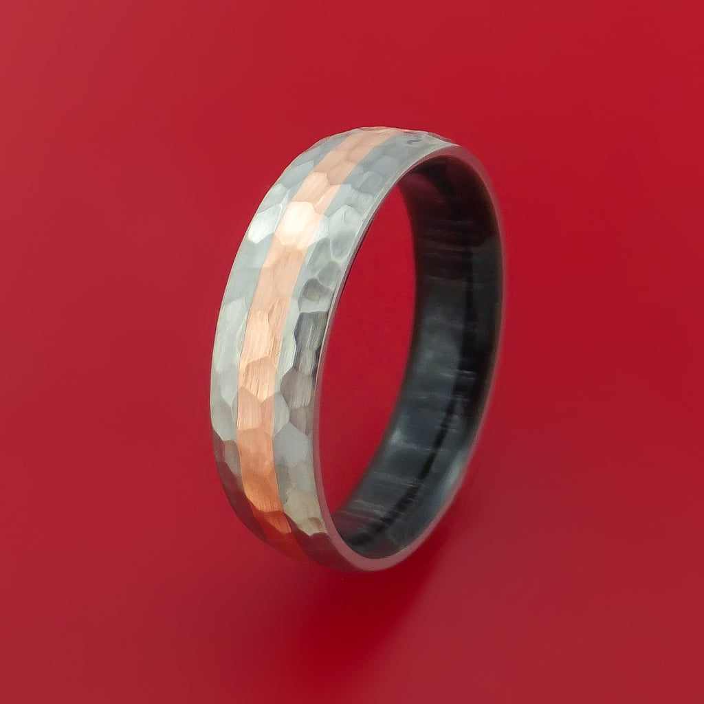 Titanium Hammered Ring with Copper Inlay Wedding Band with Wood Sleeve Custom Made