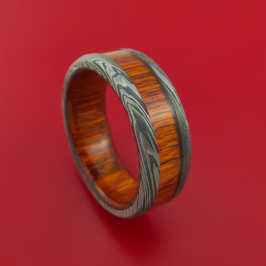 Damascus Steel Ring with Hardwood Inlay and Interior Hardwood Sleeve Custom Made Band