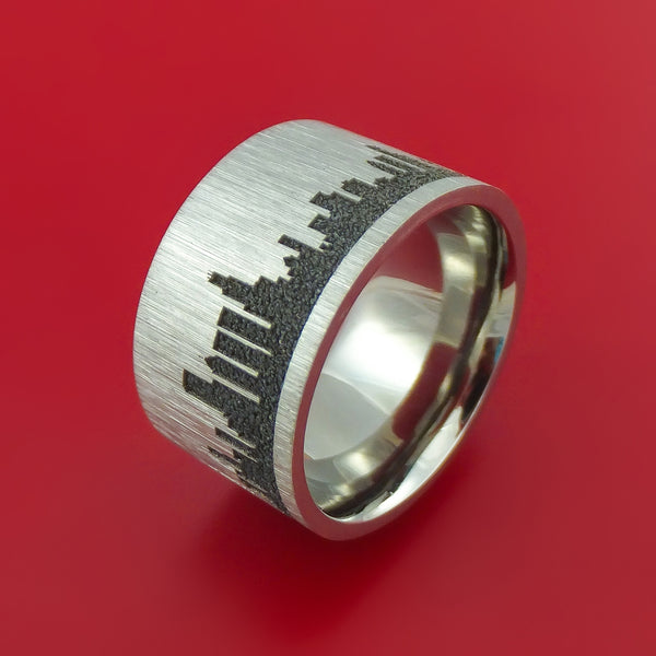 Wide Titanium Ring With Chicago Skyline Laser Etched