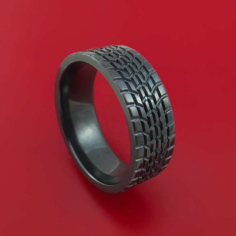Black Zirconium Ring Textured Tread Pattern Band Made to Any Sizing 3-22
