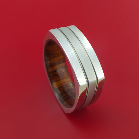 Cobalt Chrome Square Ring with Koa Wood Sleeve Custom Made Band