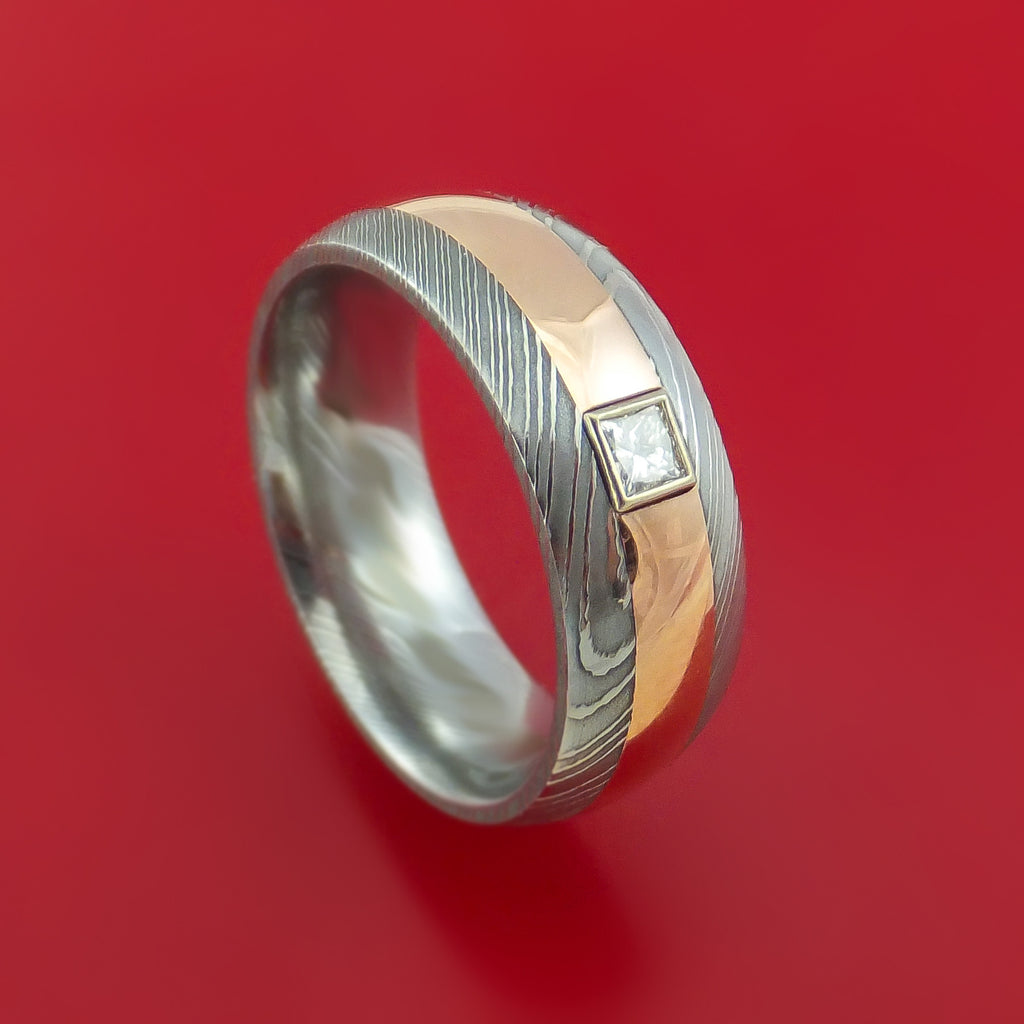 Damascus Steel and Rose Gold Band with Diamond Custom Made Ring