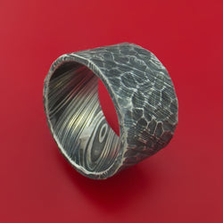 Ultra-Wide Kuro Damascus Steel Ring with Rock Hammered Finish Custom Made Band