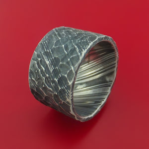 Extra Wide Hammered Kuro Damascus Steel Ring Custom Made Band