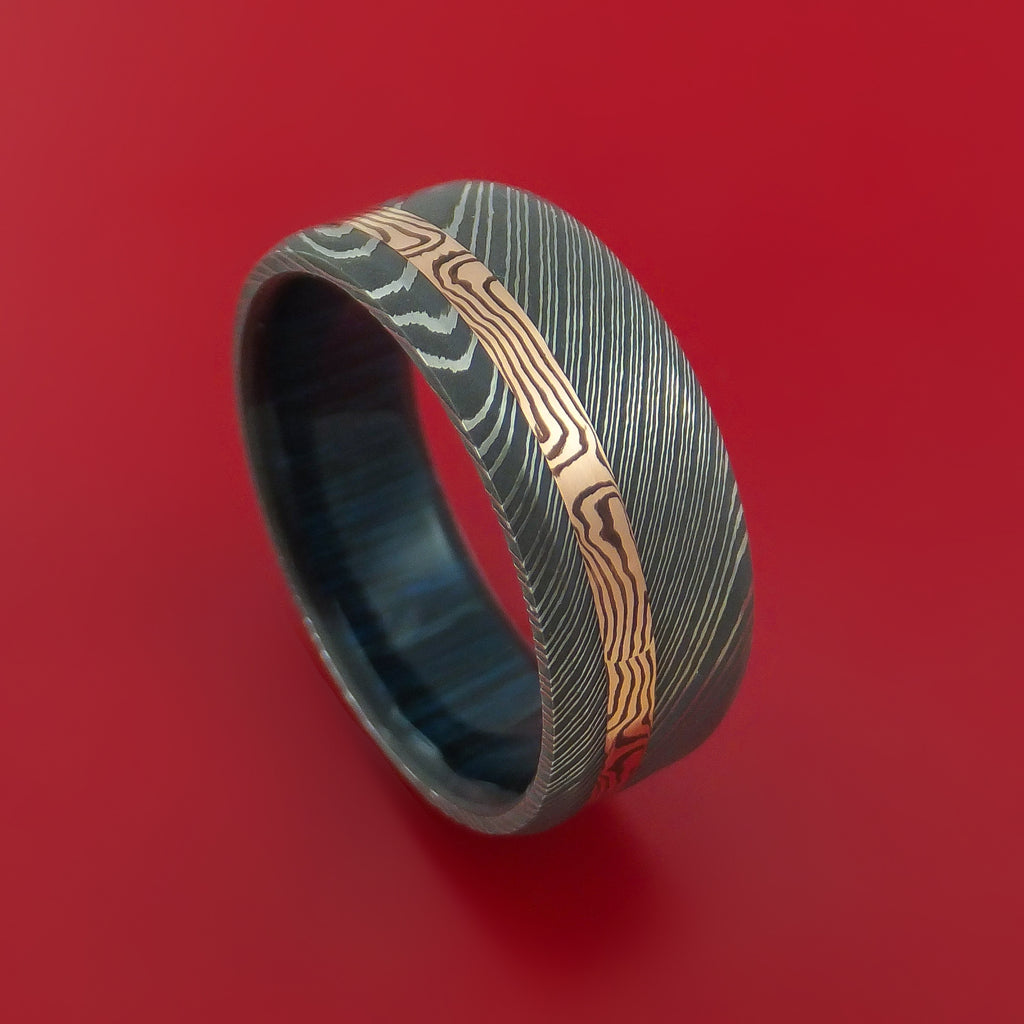 Damascus Steel Ring with 14k Rose Gold Mokume Shakudo Inlay and Interior Hardwood Sleeve Custom Made Band