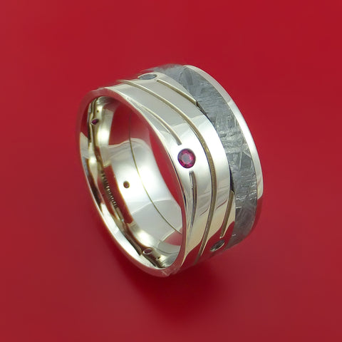 14K White Gold Meteorite Wave Pattern Band with Rubies and Aquamarines Custom Made Ring