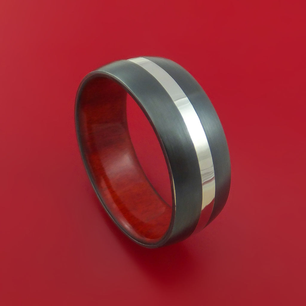 Black Zirconium Band with Palladium and Red Heart Wood Sleeve Custom Made