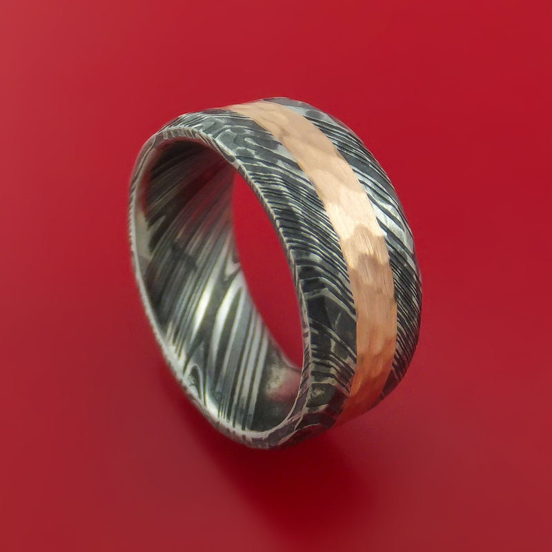 Kuro Damascus Steel Ring and 14k Rose Gold Wedding Band Hammered Genuine Craftsmanship Custom Made