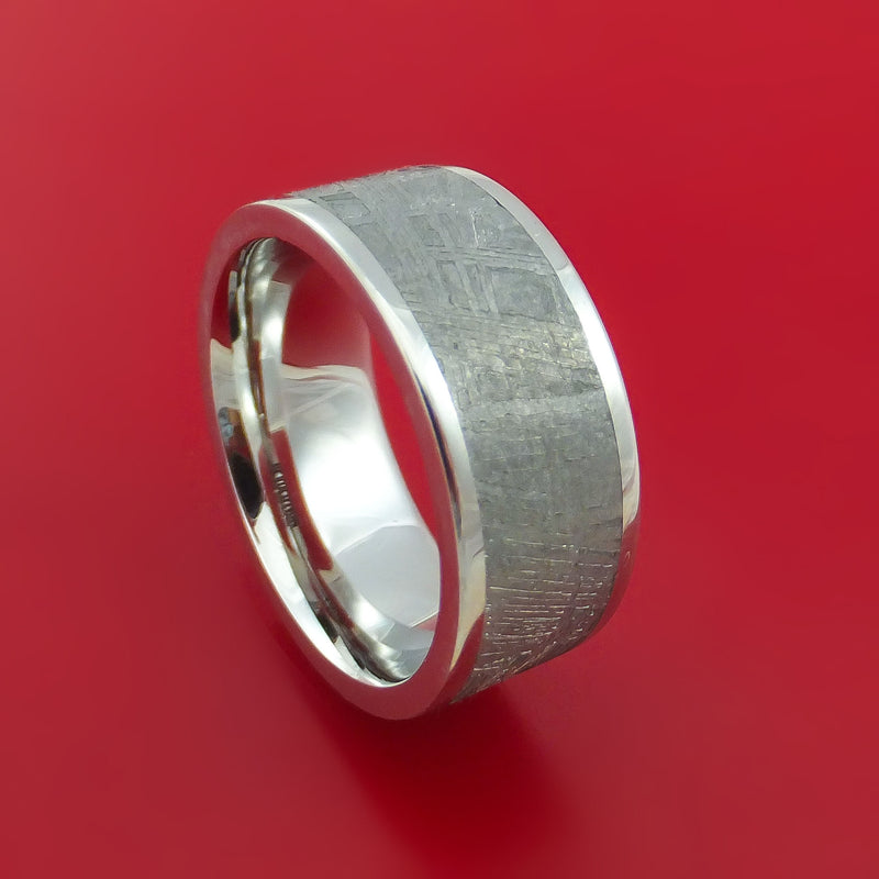 Cobalt Chrome Ring with Gibeon Meteorite Inlay Custom Made Band