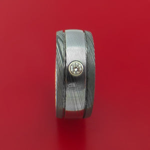 Damascus Steel Two-toned Band with Diamond Custom Made Ring