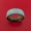 Titanium Ring with Gibeon Meteorite Inlay and Interior Hardwood Sleeve Custom Made Band