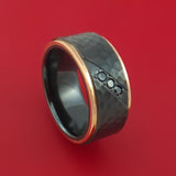 Black Zirconium Hammered Band with 14K Rose Gold Edges and Black Diamonds Custom Made