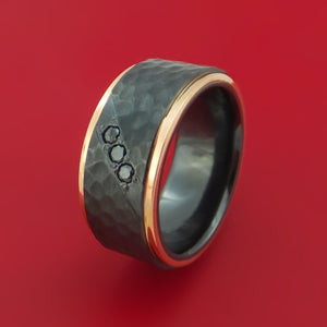 Hammered Black Zirconium Ring with Black Diamonds and 14k Rose Gold Edges Custom Made Band