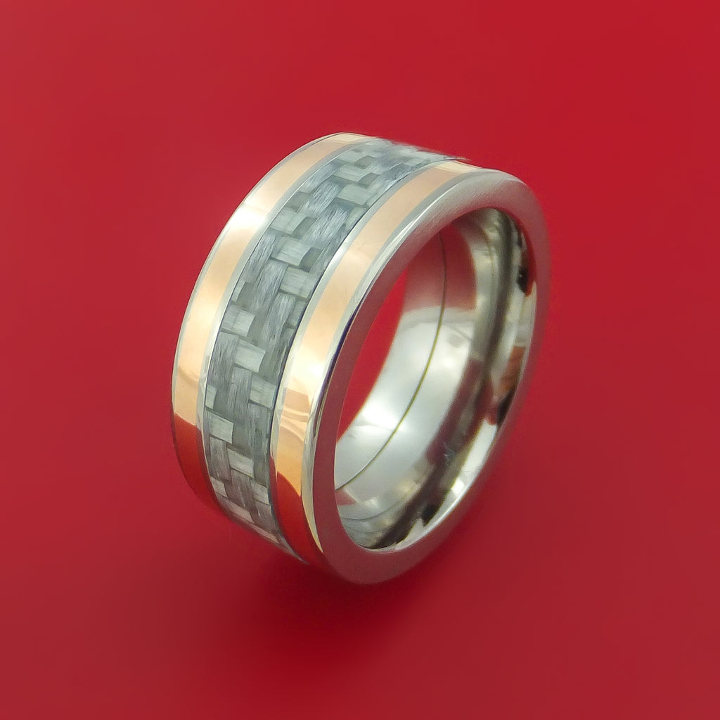 titanium and carbon fiber ring with 14k rose gold inlays custom made stonebrook jewelry. Black Bedroom Furniture Sets. Home Design Ideas