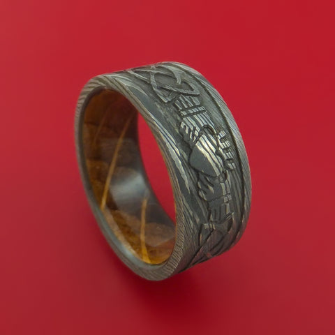 Damascus Steel Celtic Heart Ring Design with Jack Daniels Whiskey Barrel Wood Sleeve