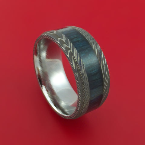 Damascus Steel Ring inlaid with BLUEBERRY WOOD Custom Made to Any Size and Optional Wood Types