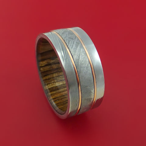 Damascus Steel and Gibeon Meteorite Ring with 14K Rose Gold Inlays and Wood Sleeve Custom Made Band
