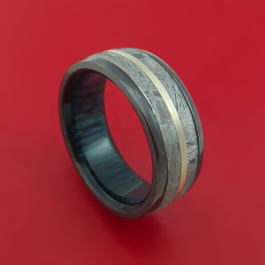 Black Zirconium Ring with Gibeon Meteorite and 14k White Gold Inlays and Interior Hardwood Sleeve Custom Made Band