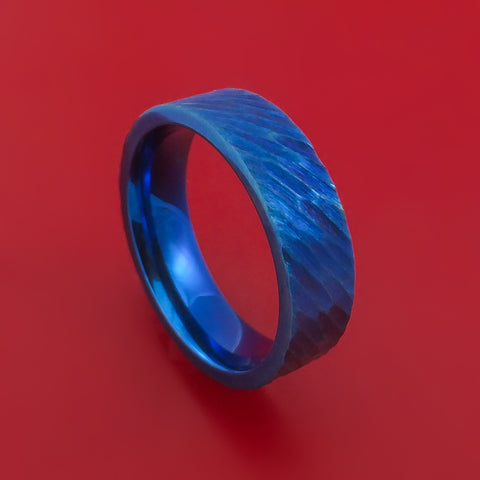 Titanium Ring Blue Tree Bark Finish Custom Made Anodized Band