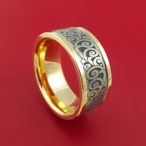 Titanium and 14K Yellow Gold Carved Band Custom Made Ring