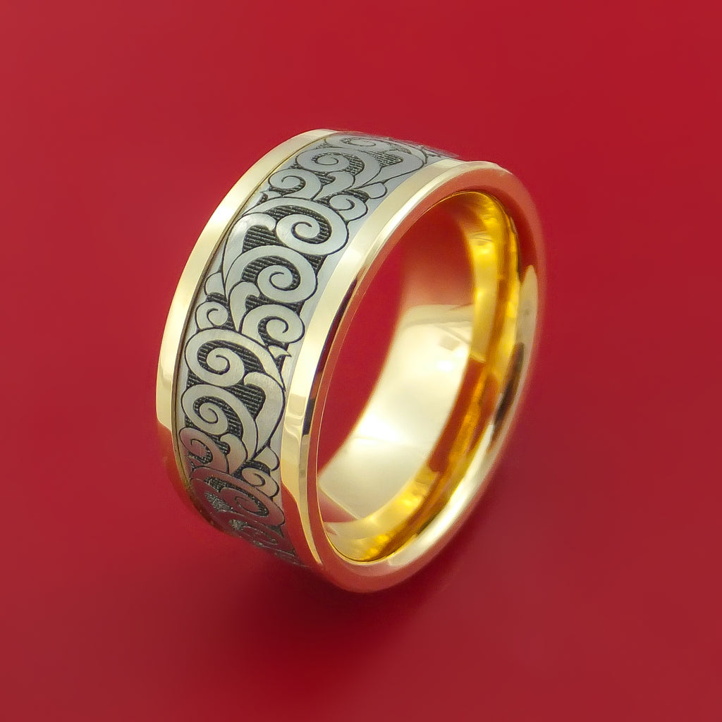 titanium and 14k yellow gold carved band custom made ring. Black Bedroom Furniture Sets. Home Design Ideas