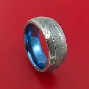 Damascus Steel Ring with Gibeon Meteorite Inlay and Interior Anodized Titanium Sleeve Custom Made Band