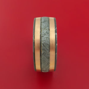 Wide Damascus Steel Ring with Gibeon Meteorite and Copper Inlays and Interior Hardwood Sleeve Custom Made Band