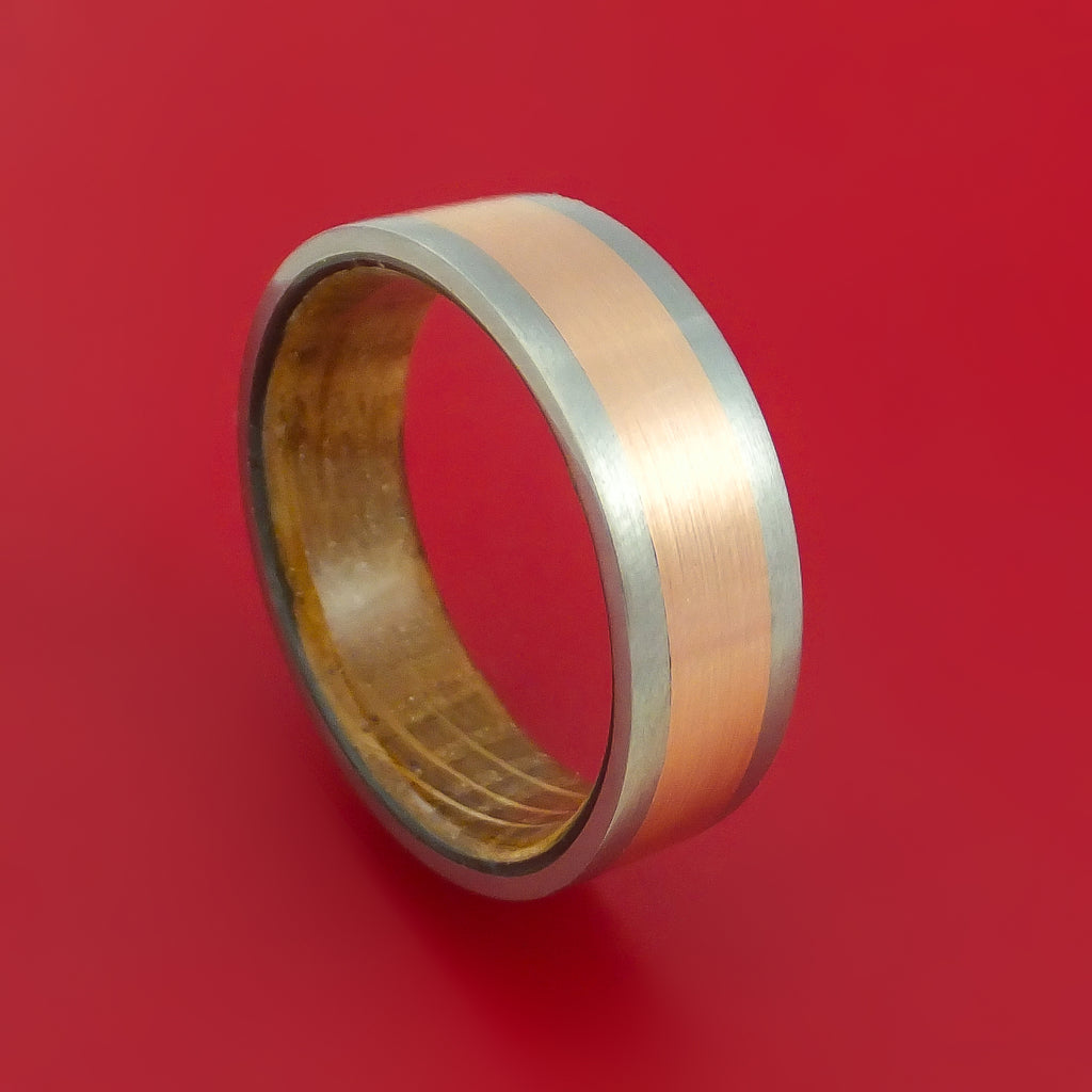 Titanium Ring with 14k Rose Gold Inlay and Interior Hardwood Sleeve Custom Made Band