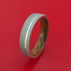Titanium Ring with Platinum Inlay and Interior Hardwood Sleeve Custom Made Band