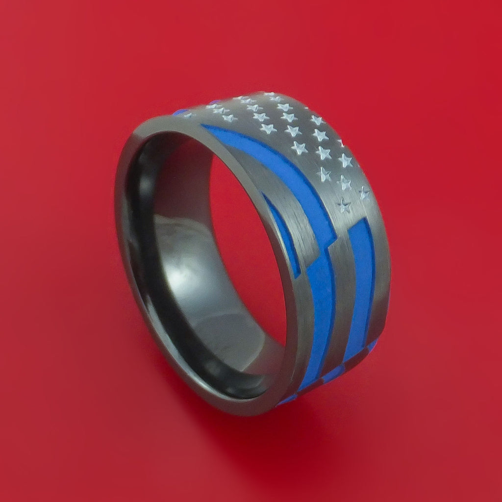 Black Zirconium Thin Blue Line Ring with United States Flag Stars and Stripes Laser-Etched Pattern and Cerakote Inlays Custom Made Band