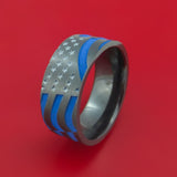 Black Zirconium and Cerakote American Thin Blue Line Flag Custom Made United States Police Ring