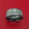 Black Zirconium and Gibeon Meteorite Ring with 14K White Gold Inlays and Diamond Custom Made Band