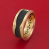 14K Rose and Yellow Gold with Carbon Fiber and Diamond Custom Made Band