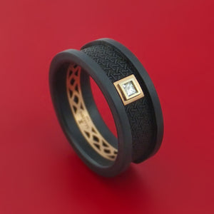 Carbon Fiber and 14K Rose Gold Band with Diamond Custom Made Ring