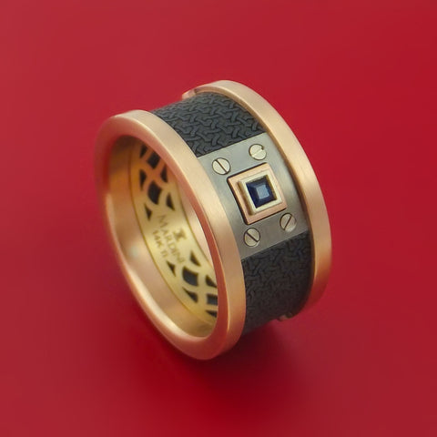14K Rose and Yellow Gold with Carbon Fiber and Sapphire Custom Made Band