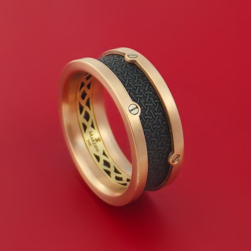 14K Rose and Yellow Gold with Carbon Fiber Custom Made Band