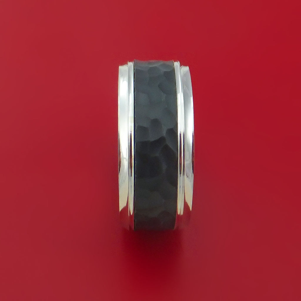 14K White Gold with Hammered Carbon Fiber Custom Made Band