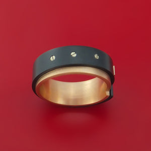14K Rose and Gold with Carbon Fiber and Diamond Custom Made Band