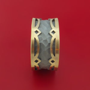 14K Yellow Gold and White Gold Textured Band Custom Made Ring