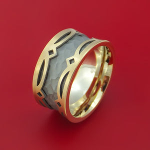 14K Yellow Gold and Hammered White Gold Textured Band Custom Made Ring