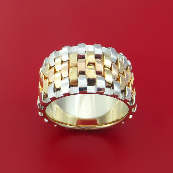 14k Yellow Gold Rose Gold And White Gold Textured Band