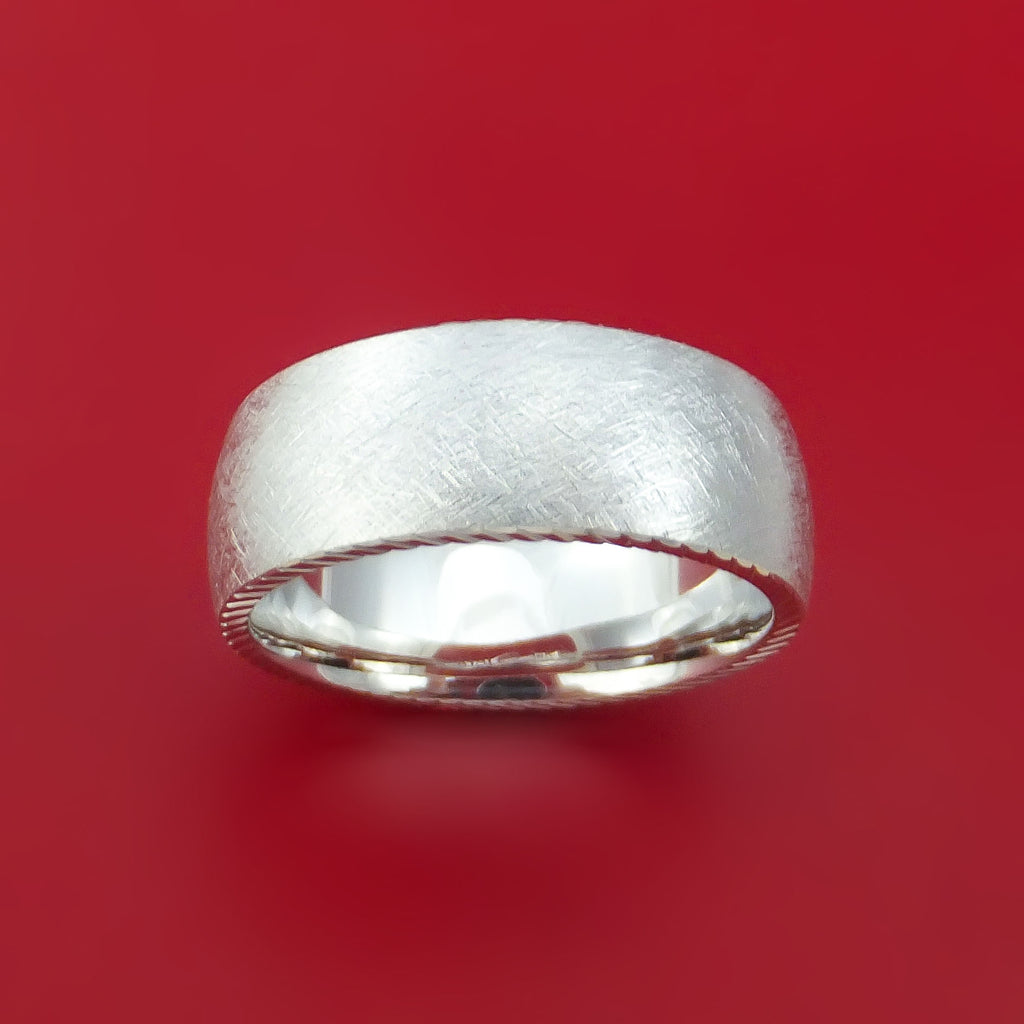 14k White Gold Distressed Band Custom Made