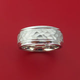 14K White Gold Hammered Band with Hidden Message and Diamond Sleeve Custom Made