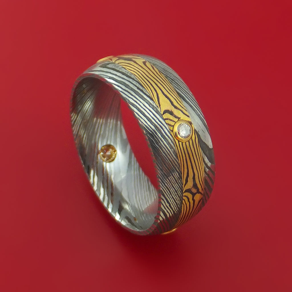Damascus Steel Band with Yellow Gold Mokume Shakudo and Diamonds Custom Made Ring