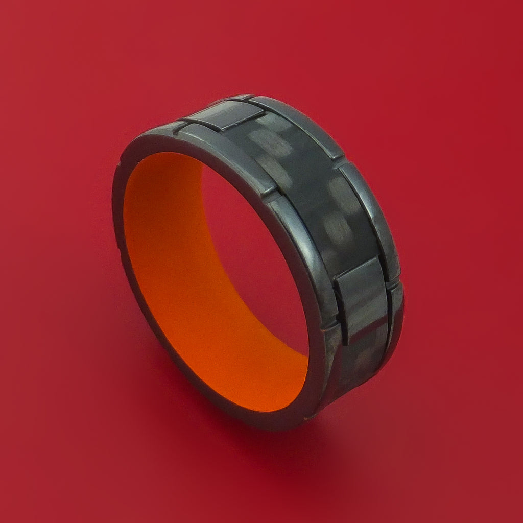 Black Zirconium Ring with Segmented Black Carbon Fiber Inlay and Interior Cerakote Sleeve Custom Made Band