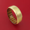 14k Yellow Gold Ring with Interior Hardwood Sleeve Custom Made Band