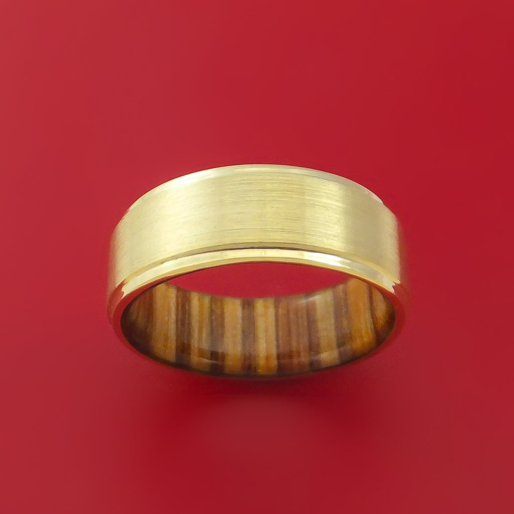 14K Yellow Gold Classic Style Wedding Band with Wood Sleeve Custom Made
