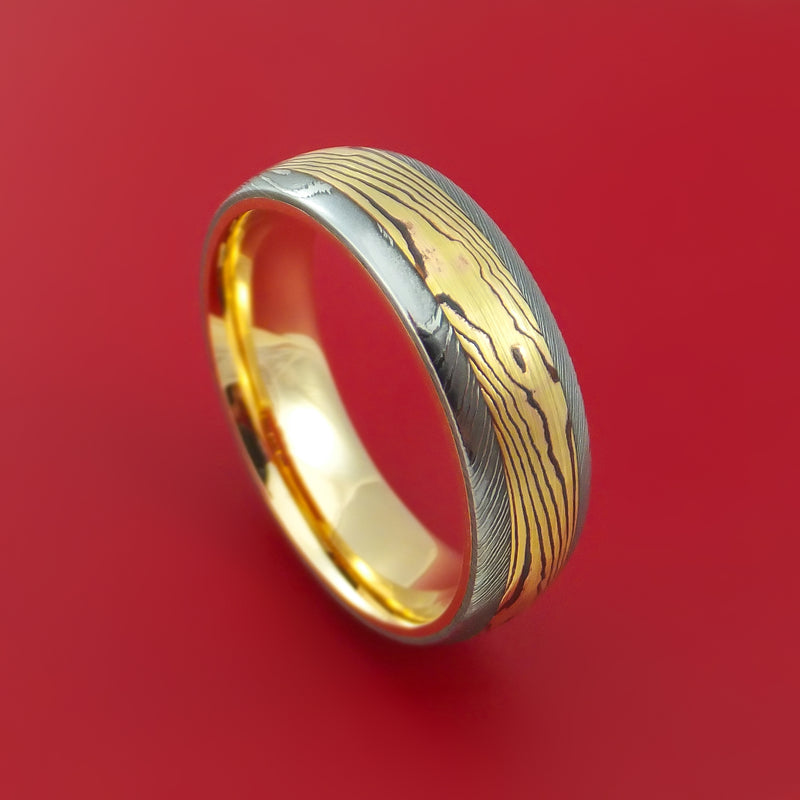 Damascus Steel Ring with Yellow Gold Mokume and Yellow Gold Sleeve Custom Made Band